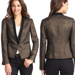 LOFT metallic tweed gold button up blazer